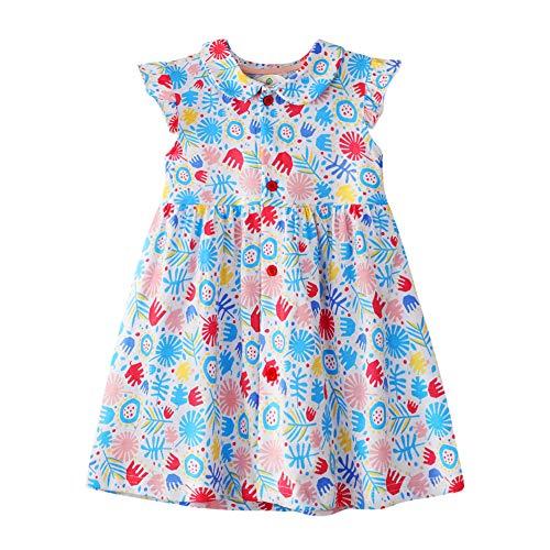 Toddler Girl Summer Dress Cotton Peter Pan Collar Open Front Button Floral Party Dress