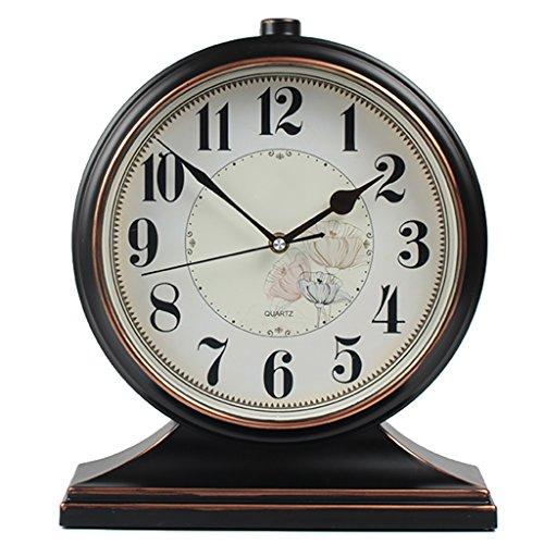 - XZJT 2018 European Retro Art Seat Clock Clock Living Room American Large Desktop Clock Pendulum Clock Desktop Creative Clock Ornaments Home Desk Clock 10 inch