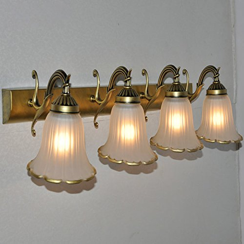 - European Bronze Metal Mirror Front Wall Light Classical Bathroom Wall Lamp Striated horn Glass Lampshade Cabinet Wall Sconce (4 Heads)