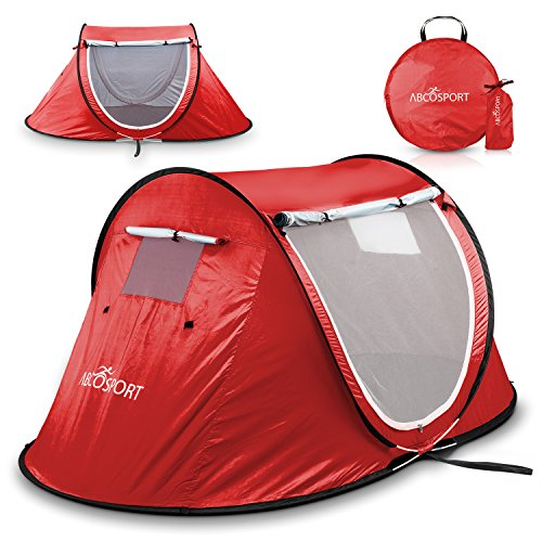 Cabana Home (Pop-up Tent an Automatic Instant Portable Cabana Beach Tent - Suitable for Upto 2 People - Doors on Both Sides - Water-Resistant & UV Protection Sun Shelter - with Carrying Bag (Red))