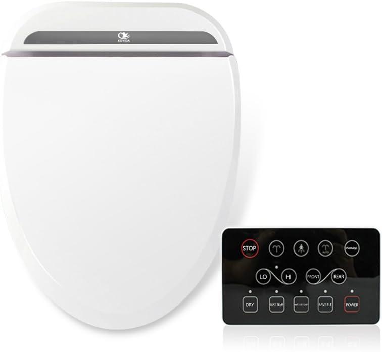 Koyida Elongated Smart Bidet Toilet Seat With Warm Air Dryer H03 Wireless Control Bright Black Panel And Air Deodorizer Cotton White Amazon Co Uk Diy Tools