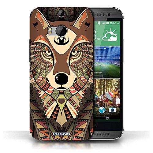 Etui / Coque pour HTC One/1 M8 / Loup-Sépia conception / Collection de Motif Animaux Aztec