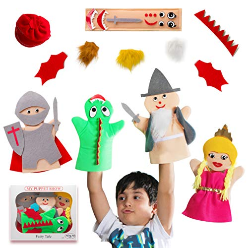 My First Puppet Show Hand Puppet Set - 4 Fairy-Tale Figures w/ self Fastened-Attach Accessories and a Bonus eBook, Spark Imagination & Develop Communication and Motor