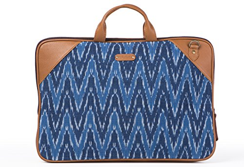 Laptop Bag Blue Ikat Durrie by October Jaipur