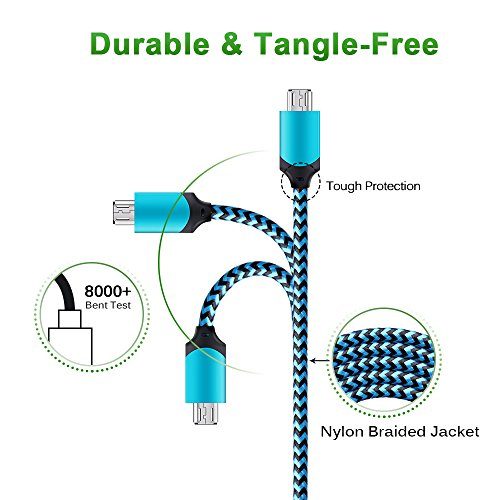 Android Micro USB Cable, GiGreen Certified Charging Cord Powerline 3 Pack 6FT Nylon Braided Sync and Fast Charging Aluminum Connector Tangle-free Data Cable for Samsung, Nexus, LG, Motorola, Nokia by GiGreen (Image #1)