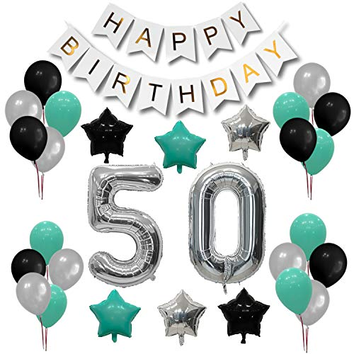 Turquoise 50th Birthday Decorations - Happy Birthday Banner   7 Turquoise Balloons, 7 Silver Balloons, 6 Black Balloons   2 Silver Number Balloons 40