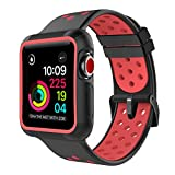 Marge Plus Compatible with Apple Watch Band 42mm with Case,Shock-Proof and Protective Case with Soft Breathable Sport Band Compatible with Apple Watch Band 42mm - Black/Red