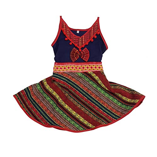ARTIIDCO Unique Woven Cotton Costume Wool Blend Ethnic Hmong Girl Dress Hand Embroidered Trimmings 2-3 Year ()