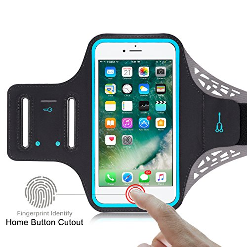 Price comparison product image Sports Armband for IPhone 7 Plus/ FINGERPRINT UNLOCK & TOUCH SENSOR/ Cash & Card Pocket/ Key Holder/ Reflective strip Design/ Stretch Lycra fabric/ Water-Resistant(Black)