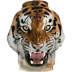 NEWCOSPLAY Unisex Realistic 3D Digital Print Pullover Hoodie Hooded Sweatshirt (S/M, tiger)