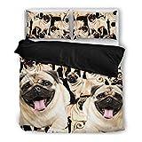 Cute Pug Bedding Set - Dog Lovers Gifts - Custom Cover Print Design Pillow Cases & Duvet Blanket Cover - Pet Gift Ideas