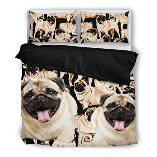 - Cute Pug Bedding Set - Dog Lovers Gifts - Custom Cover Print Design Pillow Cases & Duvet Blanket Cover - Pet Gift Ideas