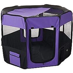 Iconic Pet Portable Pet Soft Play Pen, Purple, Large