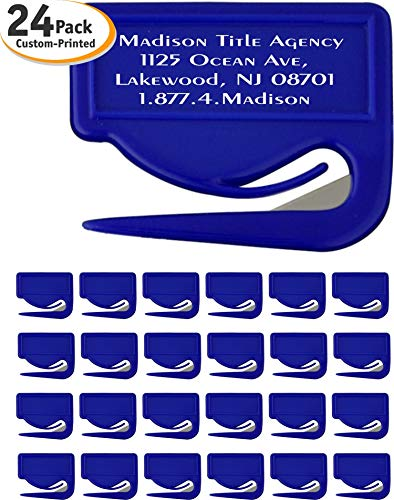 Personalized Letter Opener - USA Made, Best Sharp Razor Envelope Slitter, Printed with Your Custom Full Colored Logo & Text, Commemorate Your Event, Concealed Blade for Safety (Pack of 24, Blue)