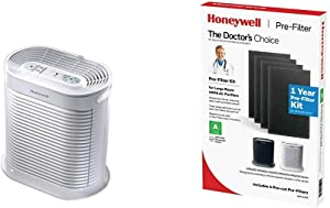 HONEYWELL True HEPA Allergen Remover, HPA204, White HRF-A200 Pre Kit, 4 Pack air Purifier Filter, Black