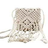 Monique Girls Women Fringed Crochet Cotton Cross-body Bag Satchel Bohemian Tassel Handbag Summer Beach Sling Bag Shoulder Bag White