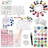 Frenshion 400ML Mix 3:1 Weight 2.5:1 Volume AB Crystal Clear Epoxy Resin UV Glue with 3 Pcs Cup Stir Bar, 1 Tweezer 13 Color Liquid Pigment 24 Decoration 9Pcs Transparant Silicone Mould For DIY Design