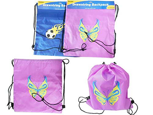 Printed Drawstring Bag Size: 13.5''x15.25'', 2 Designs , Case of 144 by DollarItemDirect