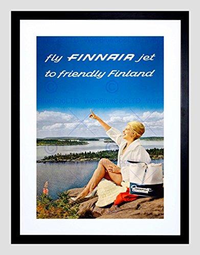 - Travel FINNAIR Finland Scenic Lake Airline Airplane Vintage Art Print B12X1573