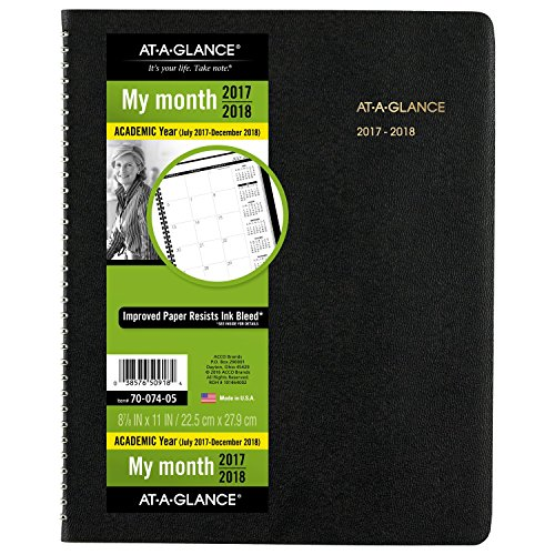 "AT-A-GLANCE Academic Monthly Planner, July 2017 - December 2018, 8-7/8"" x 11"", Large, Black (7007405)"