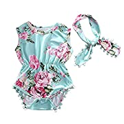 Cute Adorable Floral Romper Baby Girls Sleeveless Tassel Romper One-pieces +Headband Sunsuit Outfit Clothes (0-6 Months, Green)