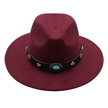 ZHLL- Gorras Marca de Lana de los Hombres Negro Papá Sombrero de Fedora para el