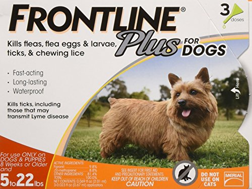 Puppy Package (Frontline Plus Flea and Tick Control for Dogs and Puppies 8 weeks or older and up to 5 to 22lbs, 3-Doses)