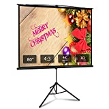 Projector Screen with Stand 80 inch 4:3 HD 4K Portable Indoor Outdoor Movie Screen Foladable Outdoor Projector Screen Wrinkle Free Pull Up Projector Screen with Tripod Stand for Office,Home Theater