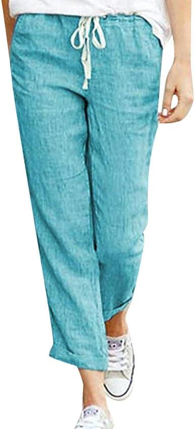 RISTHY Harem Pantalón de Algodón Mujer Tallas Grandes Sueltos Pantalón Fluido Recto Casual Cintura con Cordón: Amazon.es: Ropa y accesorios