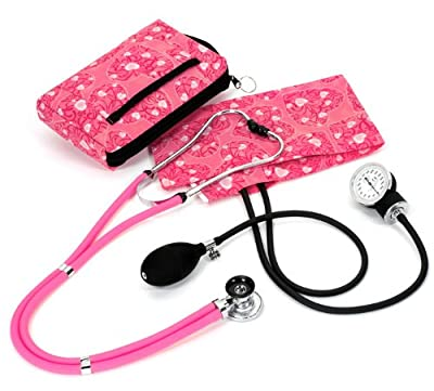 Prestige Medical A2-HPH Aneroid Hot Pink Hearts Sphygmomanometer and Sprague, Rappaport Kit