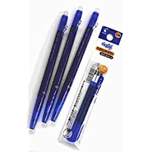 2 X Pilot FriXion Ball slim Retractable Erasable Gel Ink Pens,Fine Point, - 0.38mm - Blue Ink- Value set of 3 & 3 Gel Ink Pen Refill Pack