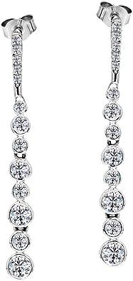 "3//4/"" Diamond Cut Heart Beaded Drop Dangle Earrings Real 14K Yellow White Gold"
