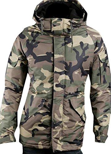 Fulok Parka Verde Militare Cappotto Caldo Capispalla Camo Mens Coulisse Addensare Giacca B4Rdqq8XO