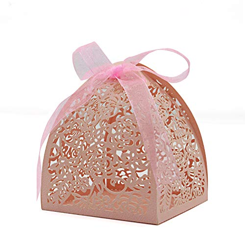 KEIVA Pack of 100 Laser Cut Rose Candy Boxes, Favor Boxes 2.5