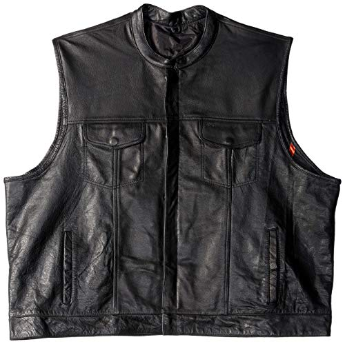 Milwaukee Leather Men's Open Neck Snap/Zip Front Club Style Vest (Black, 7X-Large)