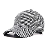 DAMENGXIANG students Baseball Caps Women Plaid Casual England Style Snapback Caps Men Adjustable Vintage Hat Cap, White