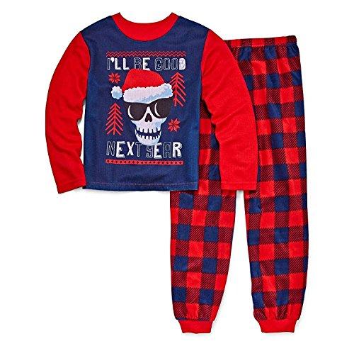 PJ & ME Boys Thermal Top Flannel Pants I'll Be Good Next Year Skull Pajama Sleepwear Set (I'll Be Good Next Year, 4) -