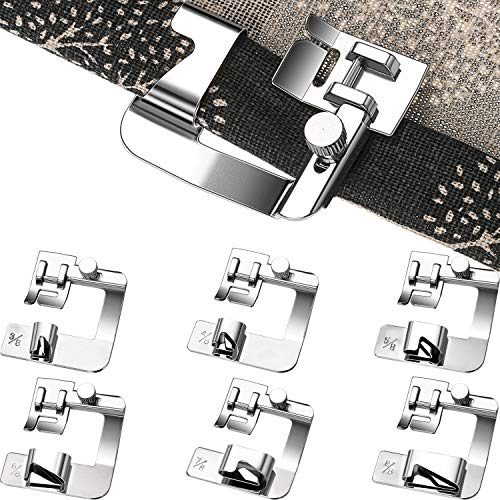 (6 Pieces Rolled Hem Pressure Foot Sewing Machine Presser Foot Hemmer Foot Set (3/8 Inch, 4/8 Inch, 5/8 Inch, 6/8 Inch, 7/8 Inch, 8/8 Inch) Adjustable Wide Hemmer Foot Set for Singer, Brother, Jan)