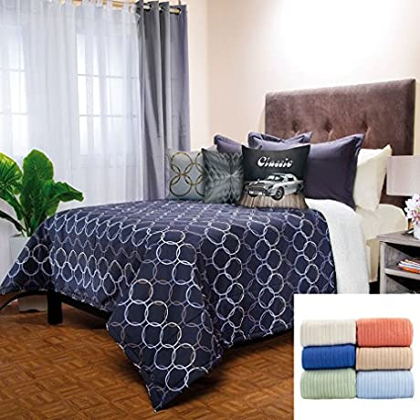 Breton 10 Pc Fleece Comforter Set Twin Full Bundled With Cozy Cotton Blanket Twin