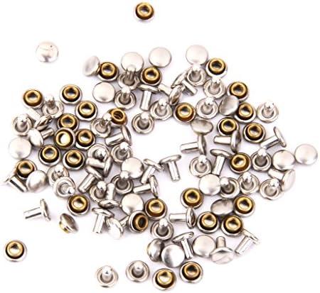 ノーブランド品 100セット 裁縫 手芸用 直径6mm 高さ7mm 両面カシメ ボタン スナップ リベット 3色選べる - 赤銅色