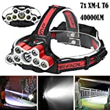 40000 LM 7X XM-L T6 LED Rechargeable Headlamp Headlight Travel Head Torch Affordable