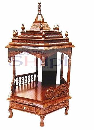 Shilpi Sheesham Wood Home Temple / Designer Pooja Room / Traditional Hand  Carved Wooden Mandir