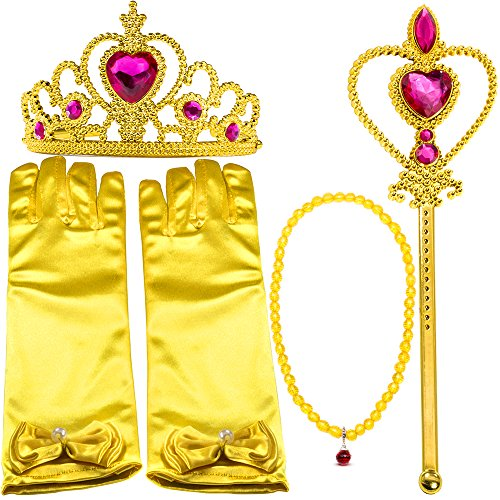Belle 2 Piece Costumes (Yellow Dress Up Party Costume Accessories 4Pieces Gift Set For Princess Belle cosplay: Tiara, Wand and Gloves(Pink))