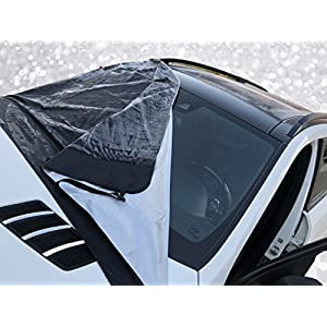 AR-KA Extra-Large Magnetic Windshield Cover by XL Size - Fits Most Vehicles. 6 magnets, Inside Buckles with Secure Elastic Tire Straps. Best for Ice, Snow, Frost and Sun Protection.