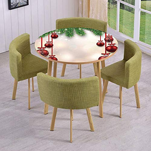 Round Table/Wall/Floor Decal Strikers/Removable/Xmas Winter Season Theme Fir Twigs and Vibrant Balls Graphic Print/for Living Room/Kitchens/Office Decoration ()