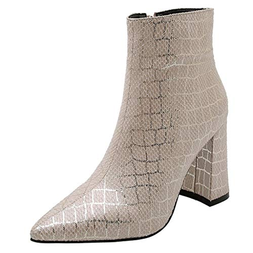 AHAYAKU Women Stone Pattern Boots Mid-Boots Ankle Zipper Square Heel Casual Boots Shoes 2019 Beige (Ladies Shoe Stretcher For High Heels Uk)
