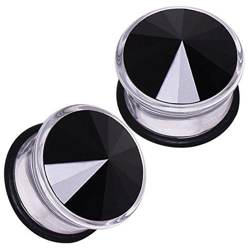 (Cocobul Body Jewelry Pair of 8 Gauge (3mm) Single Flared UV Acrylic Plugs with Imitation Black CZ D07-072)