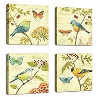 Arte natural - Pintura de aves y flores 4 pcs Arte de la pared Lanscape Pintura Impresión en lienzo Decoración de pared Envuelta con marco de madera listo para colgar,