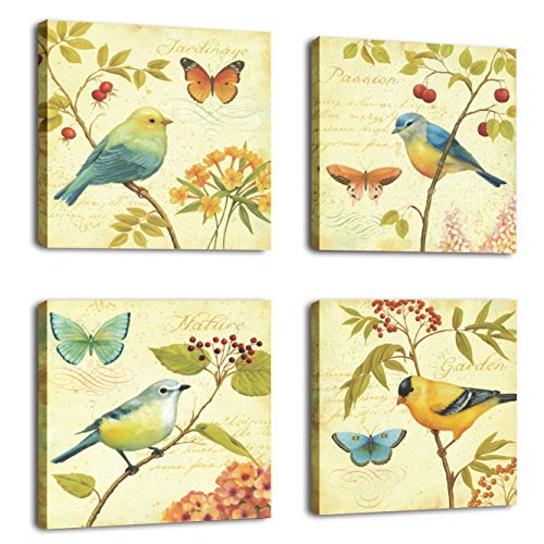 Canvas Prints Kitchen (Natural art - Bird and flower Painting 4 pcs Wall Art Lanscape Painting Print on Canvas Wall Decoration Wrapped with Wooden Frame Ready to Hang,)
