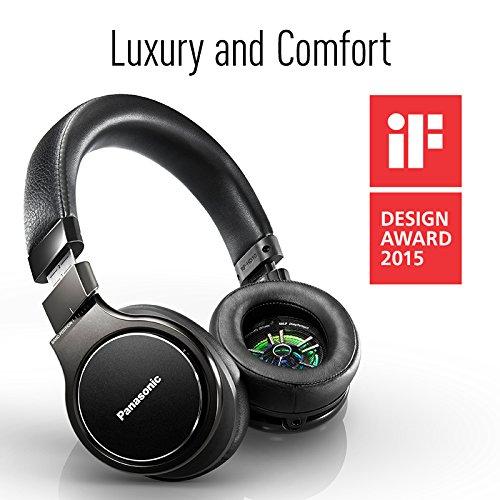 51XNhzgXHEL - Panasonic Premium Hi-Res Stereo Over-the-Ear Headphones with Mic + Controller RP-HD10C-K (Black), with Travel Case
